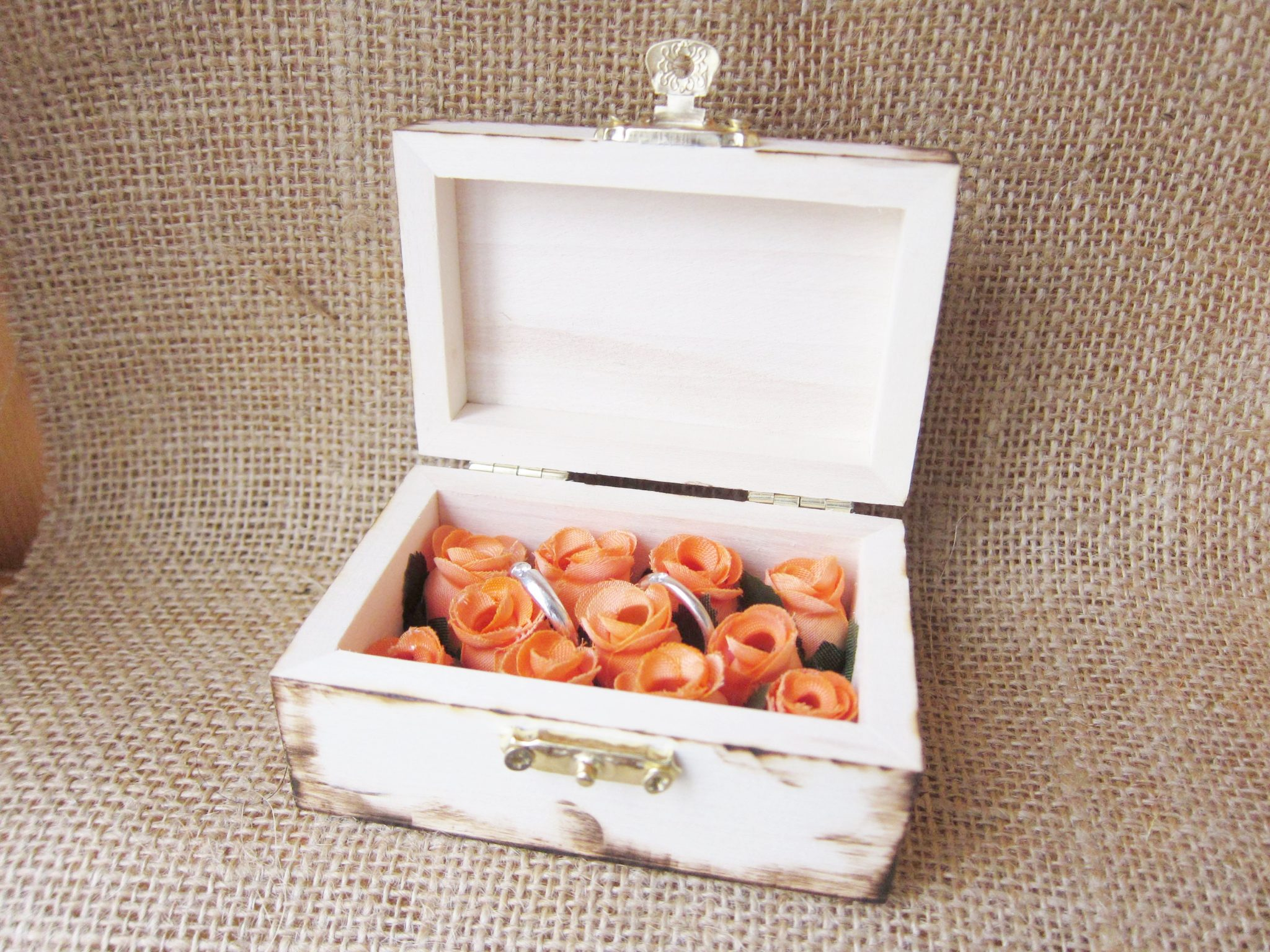 wedding ring box orange flowers