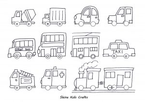 Free Printable Simple Draw Vehicles / Cars - Coloring for kids