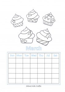 Free Printable Cupcake Coloring / Calendar - Party Food (Cupcakes)