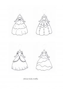 Free Printable Kids Simple Drawing / Coloring Page - Princess dress