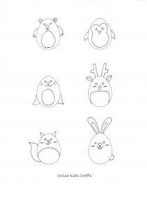 Free Printable Kids Simple Drawing - Egg Shaped Polar Animals